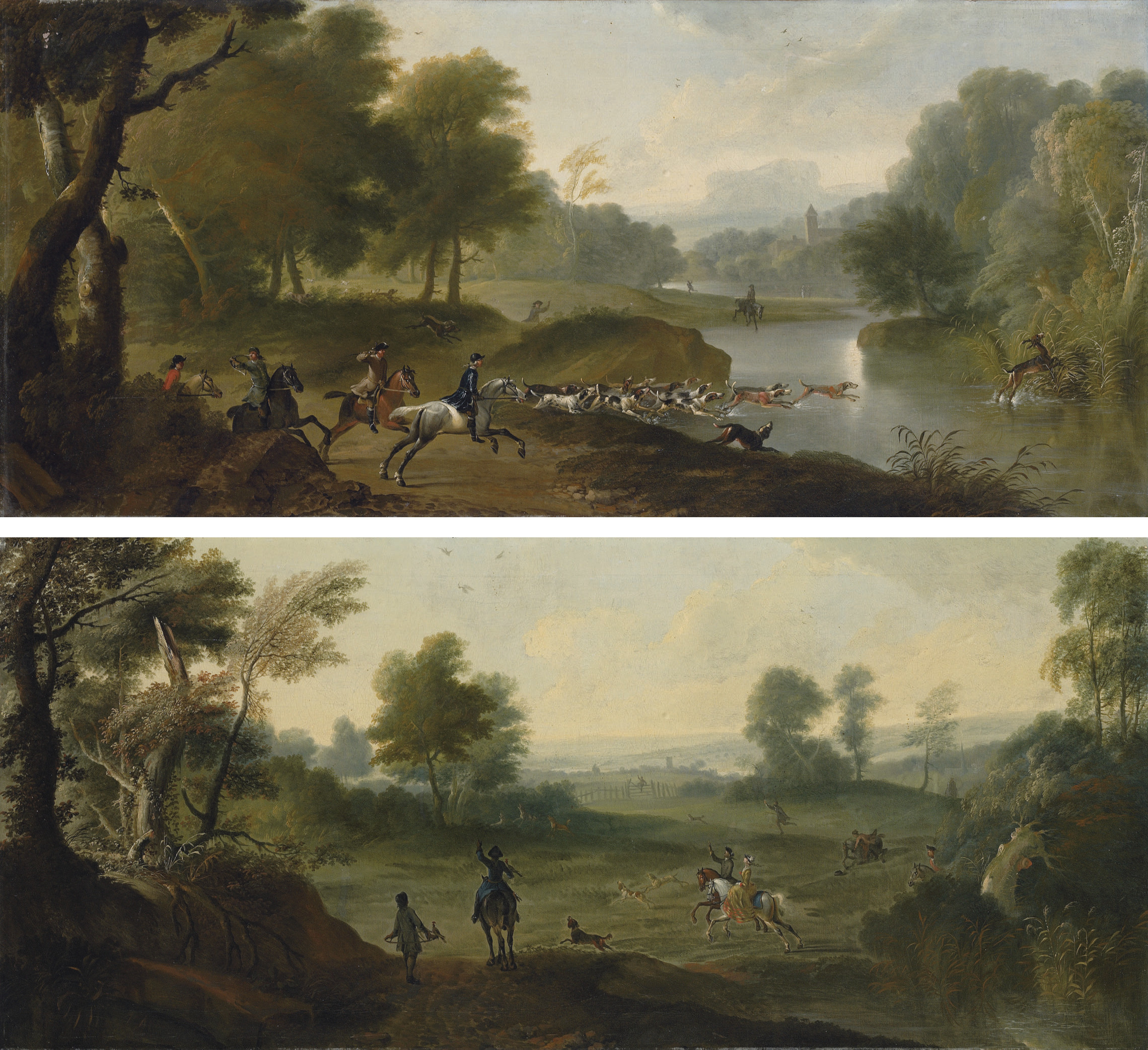 A stag hunt in a wooded river landscape; A hawking party in a landscape