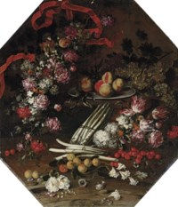 Asparagus, cherries, peaches and flowers on a wooden ledge