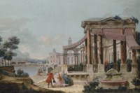 A capriccio of a neoclassical loggia on the embankment of a canal, the buildings of a town and a mountainous landscape beyond