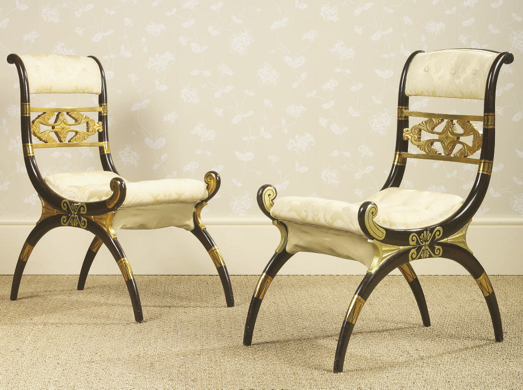 A PAIR OF ENGLISH PARCEL-GILT