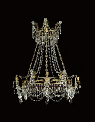 A SWEDISH ORMOLU, CLEAR AND RE