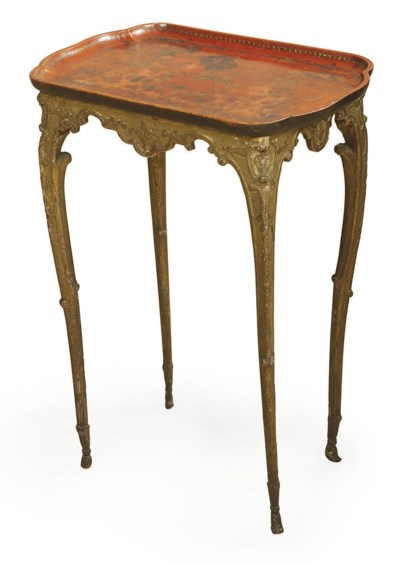 A FRENCH GILTWOOD AND RED-LACQ