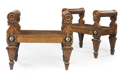 A PAIR OF WILLIAM IV OAK AND B