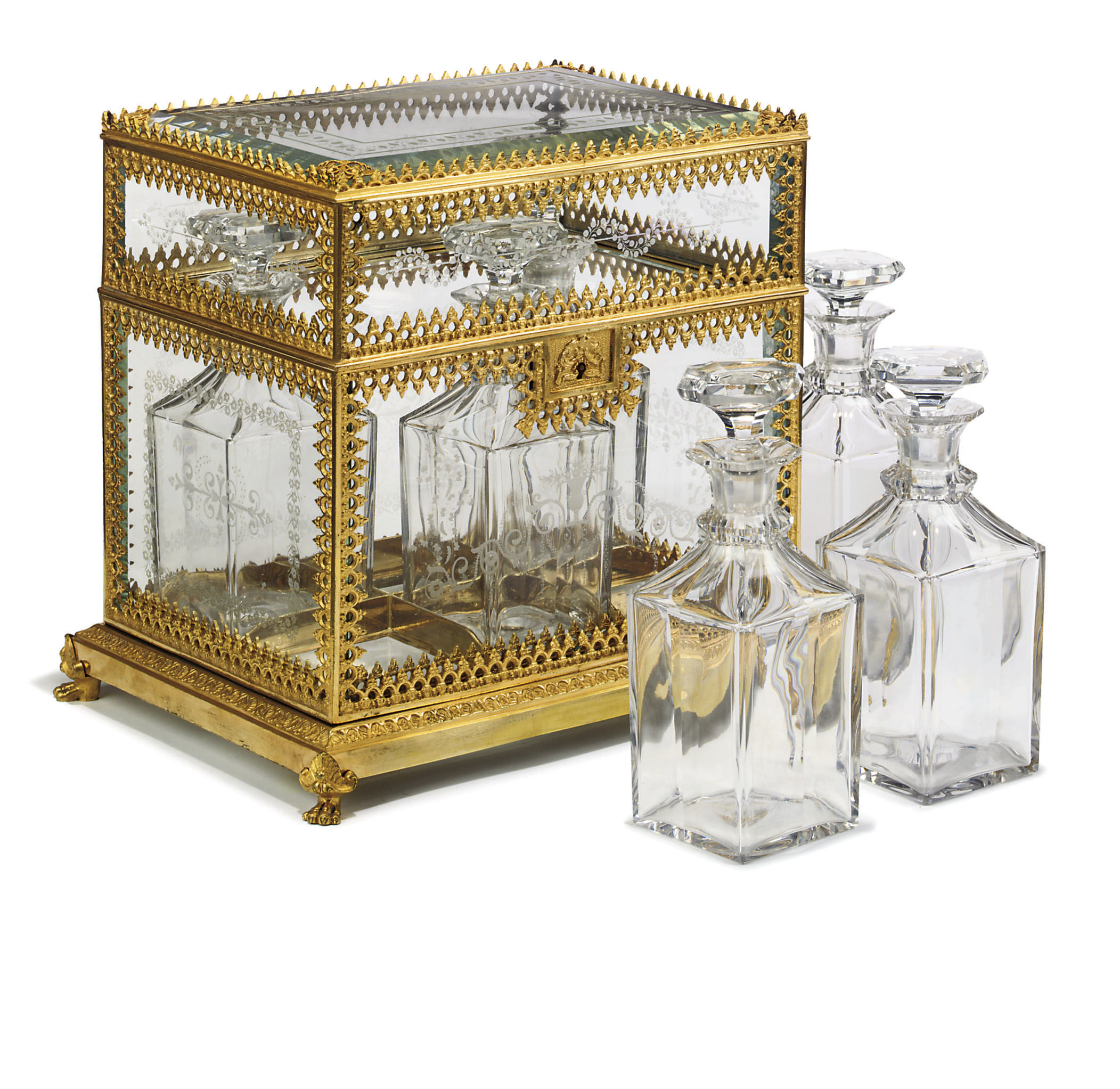A FRENCH ORMOLU AND ETCHED-GLA