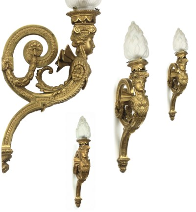 A SET OF FOUR FRENCH ORMOLU SI