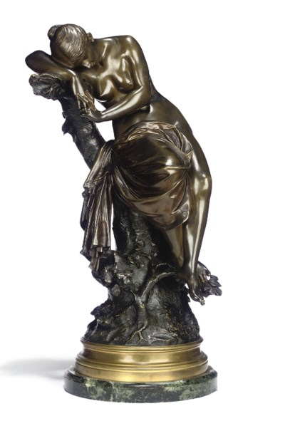 A FRENCH BRONZE FIGURE OF A SL
