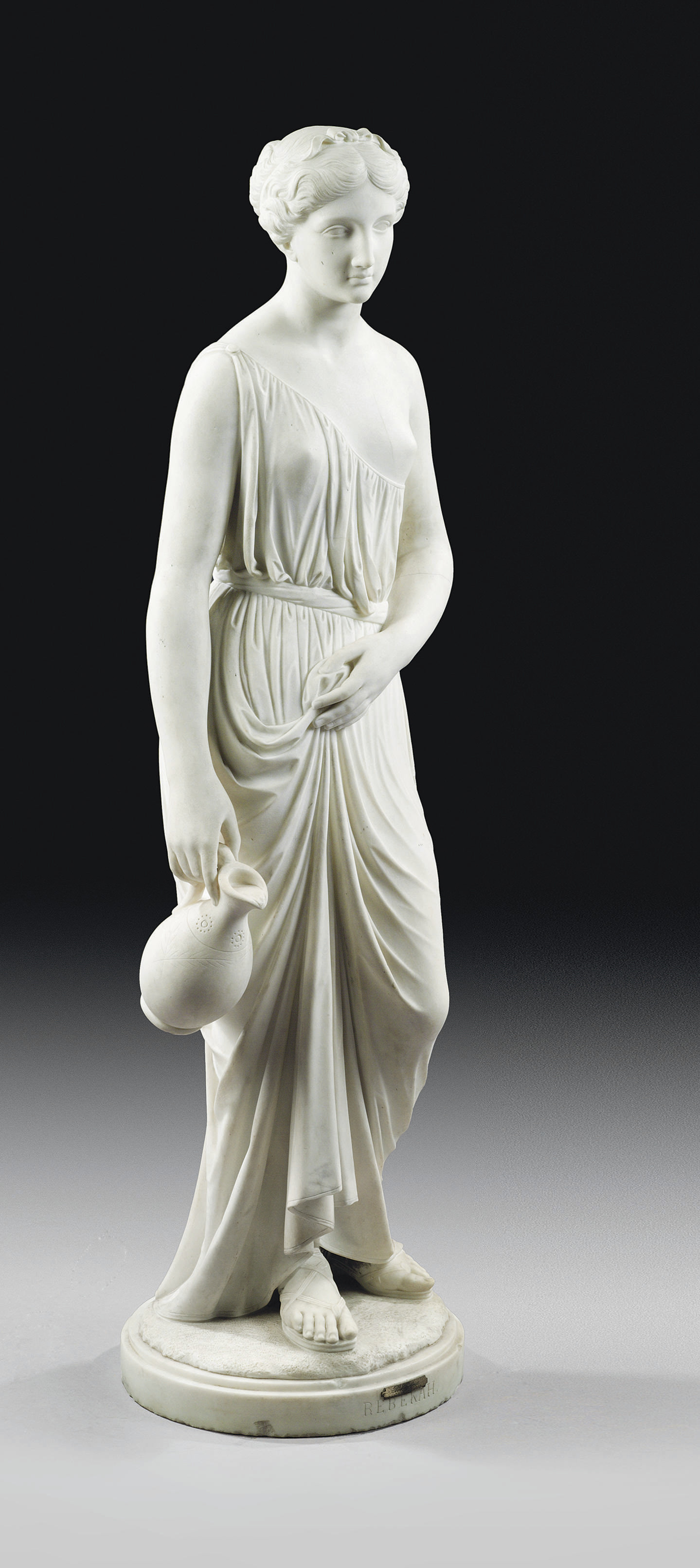 AN ITALIAN WHITE MARBLE FIGURE OF REBECCA