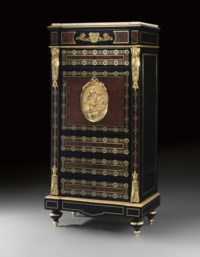 A NAPOLEON III ORMOLU-MOUNTED MOTHER-OF-PEARL AND BRASS-INLAID, TULIPWOOD, BURR-AMBOYNA, EBONY AND EBONISED SECRETAIRE A ABBATANT