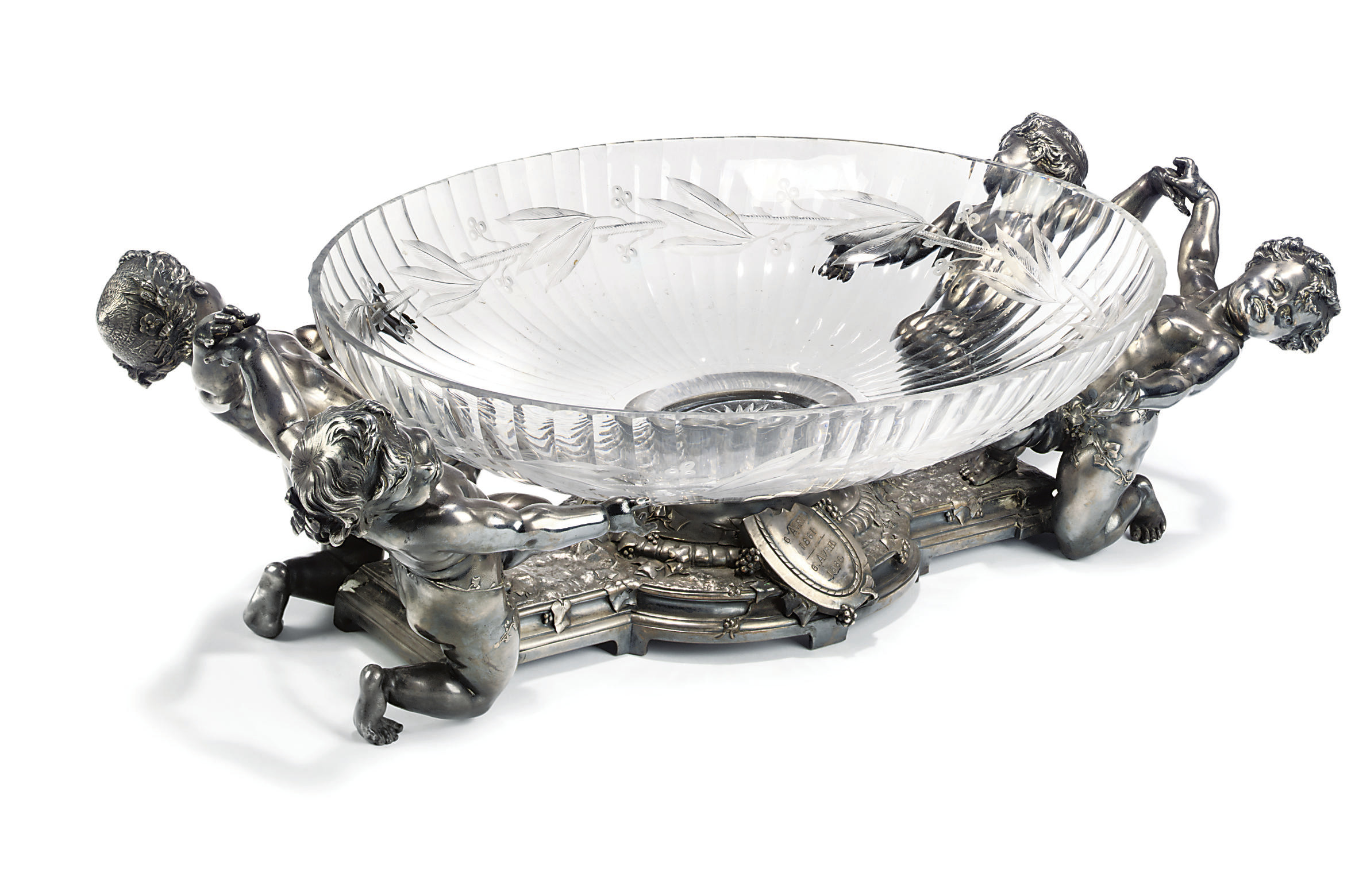 A FRENCH ELECTROPLATED AND CUT-GLASS CENTREPIECE