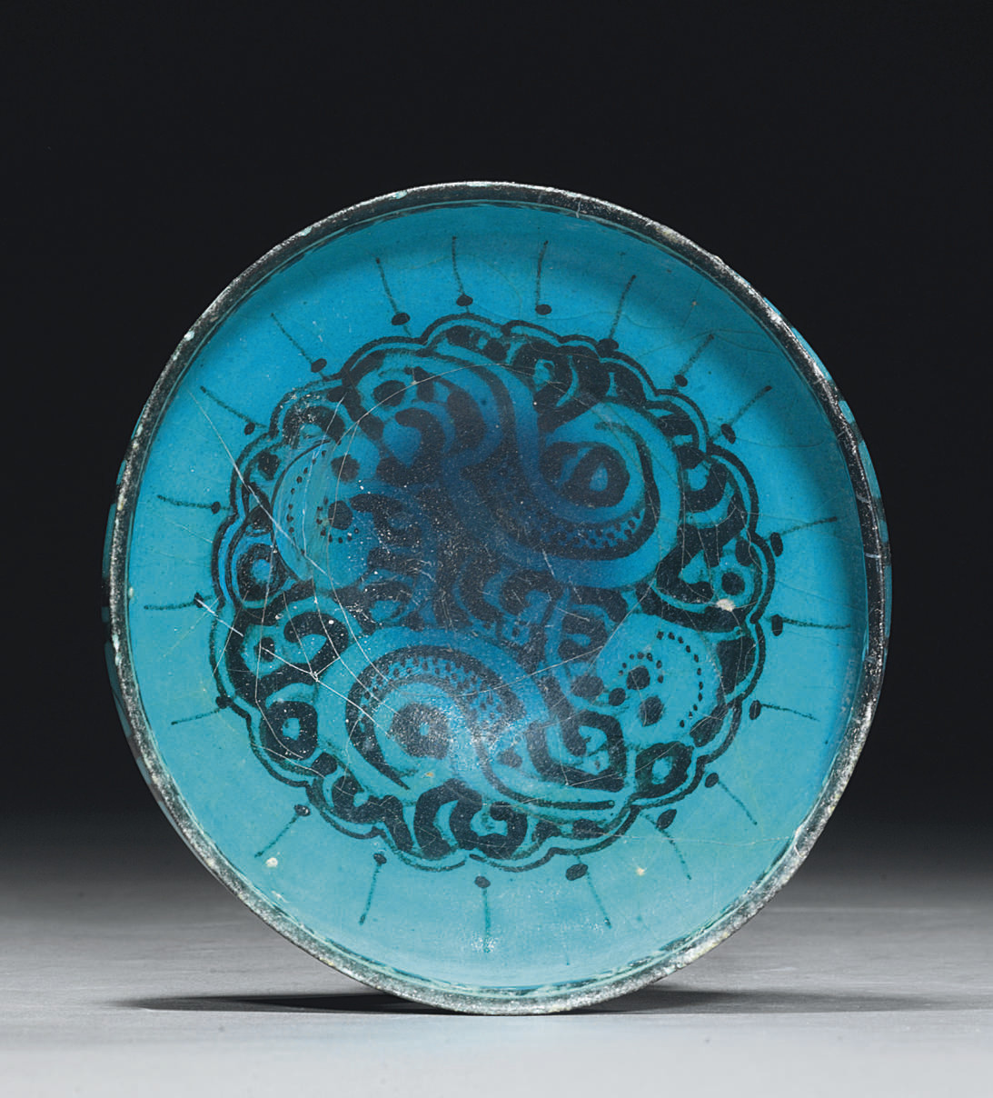 A KASHAN BLACK AND TURQUOISE P