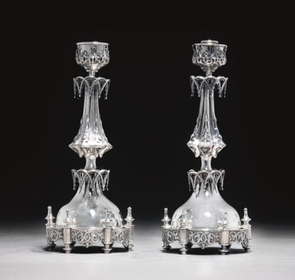 A PAIR OF OTTOMAN SILVER CANDL