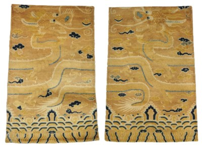 A PAIR OF CHINESE PILLAR RUGS