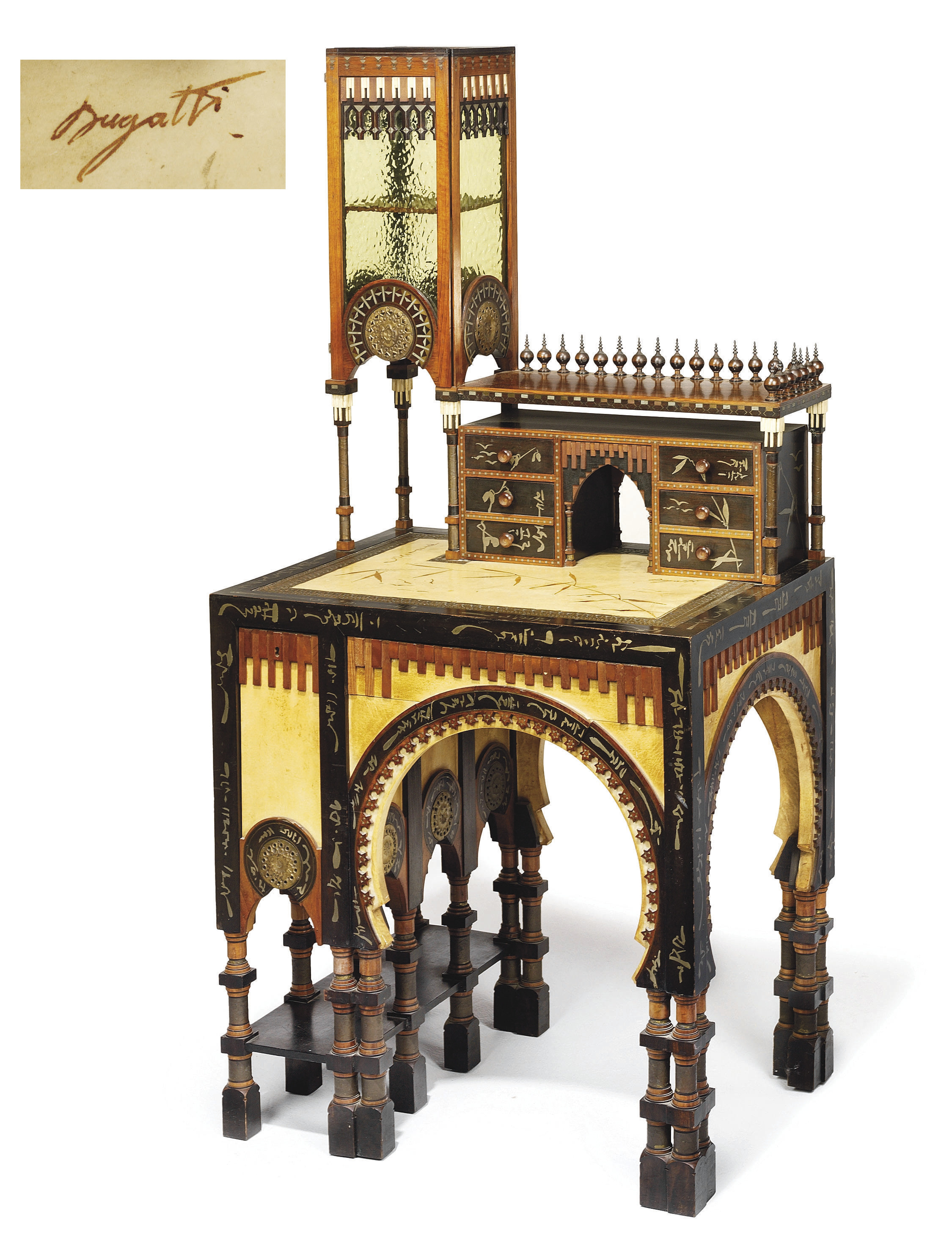 carlo bugatti 1856 1940 mosqu e bureau circa 1902 christie 39 s. Black Bedroom Furniture Sets. Home Design Ideas
