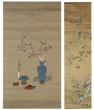 TWO EMBROIDERED SILK SCROLLS