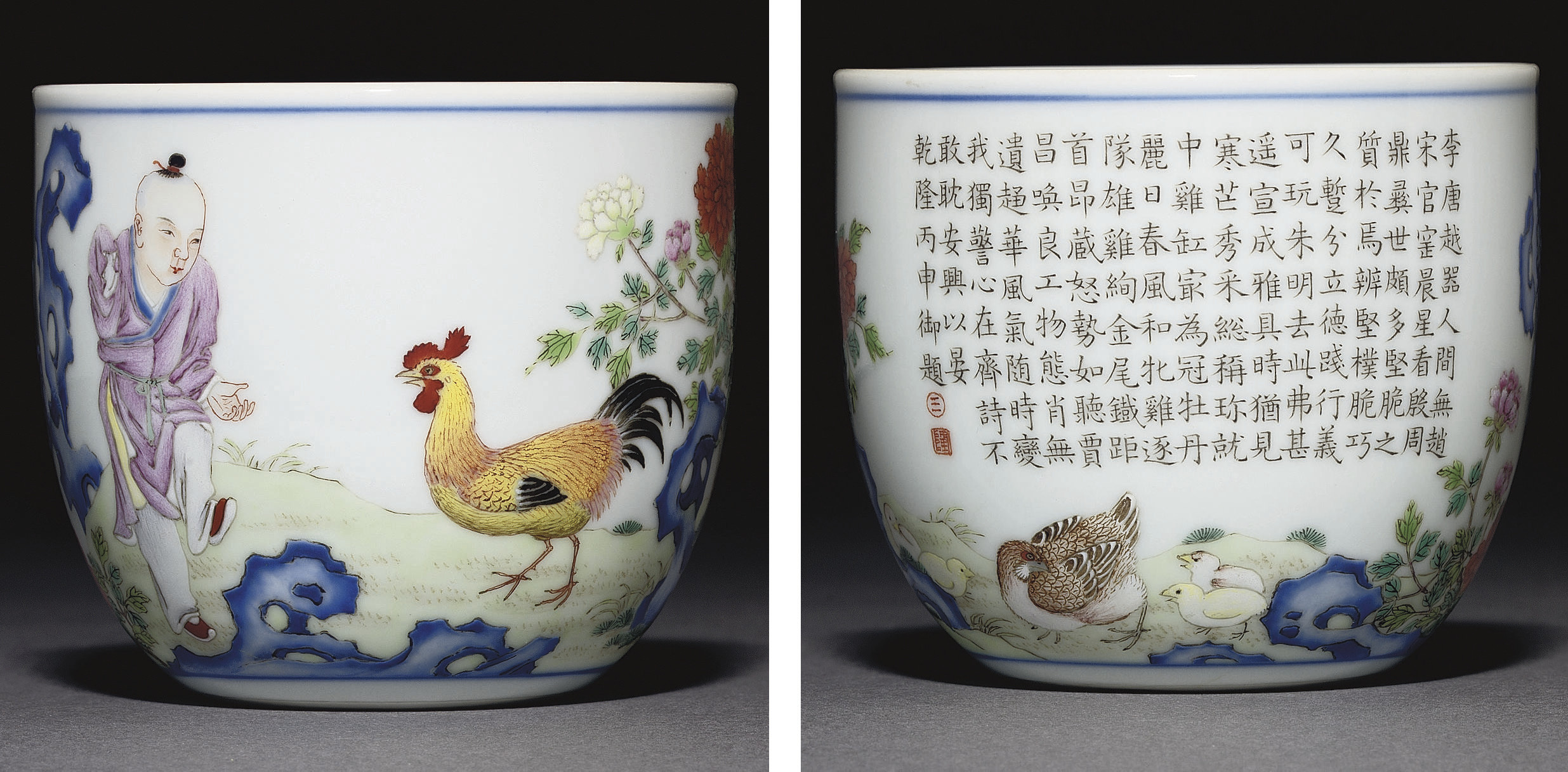 A FAMILLE ROSE 'CHICKEN' CUP