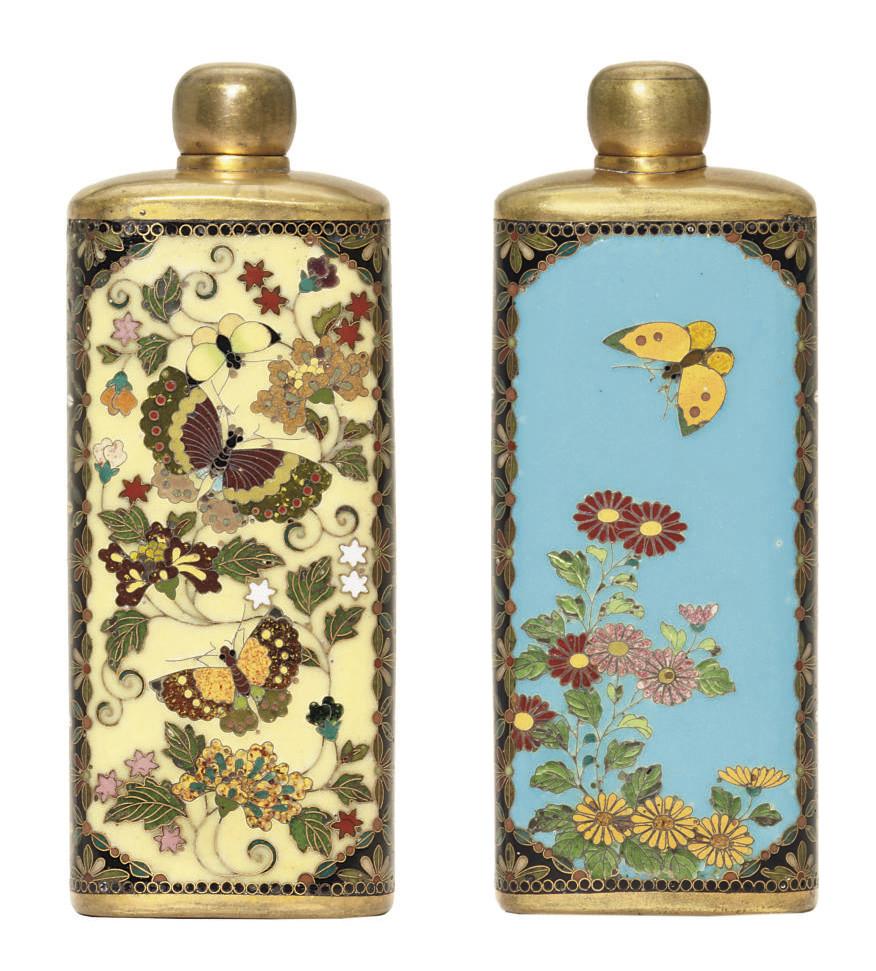 A cloisonné enamel scent bottl