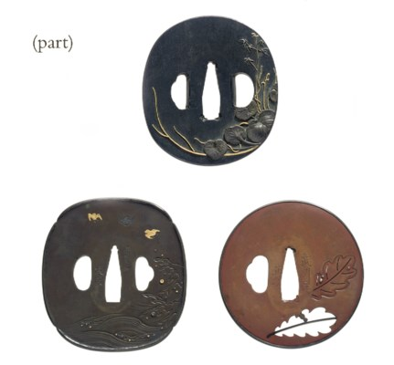 A group of eight tsuba