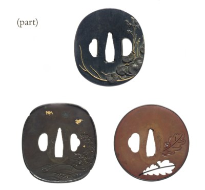 A group of eight tsuba