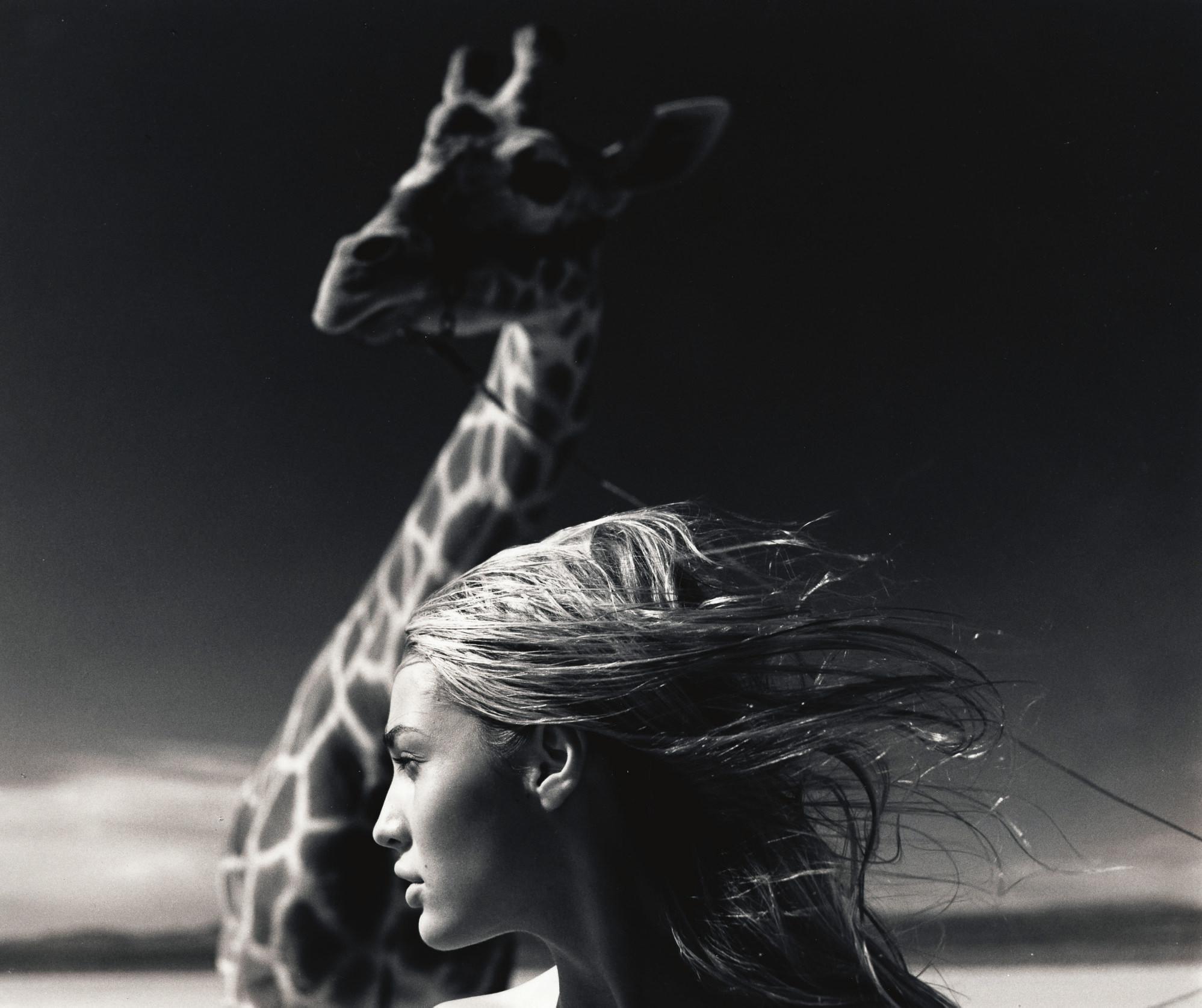Jaime and giraffe, Mojave Desert, 1996