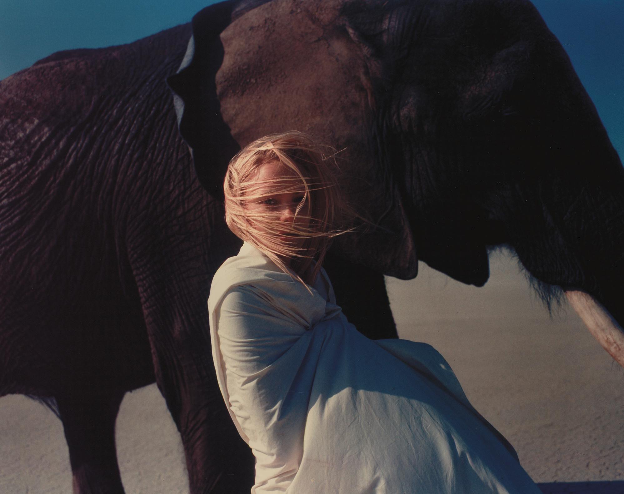 Jaime and elephant, Mojave Desert, 1996