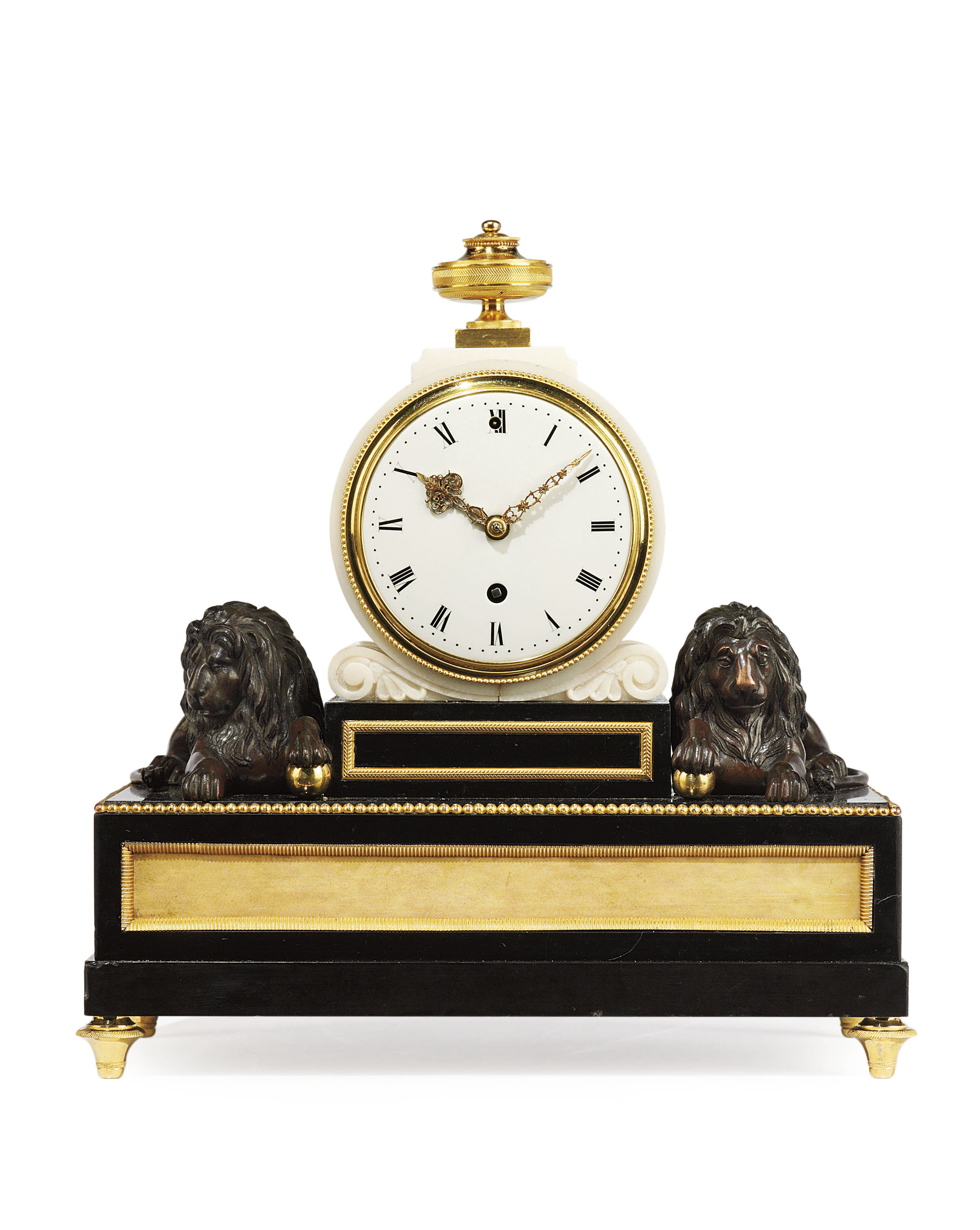 A GEORGE III SMALL ORMOLU AND BRONZE-MOUNTED WHITE MARBLE AND BLACK SLATE MANTEL CLOCK
