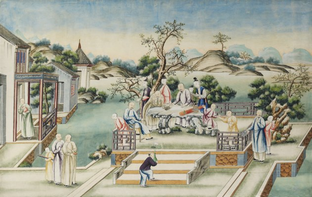 A CHINESE PAINTED-PAPER PANEL