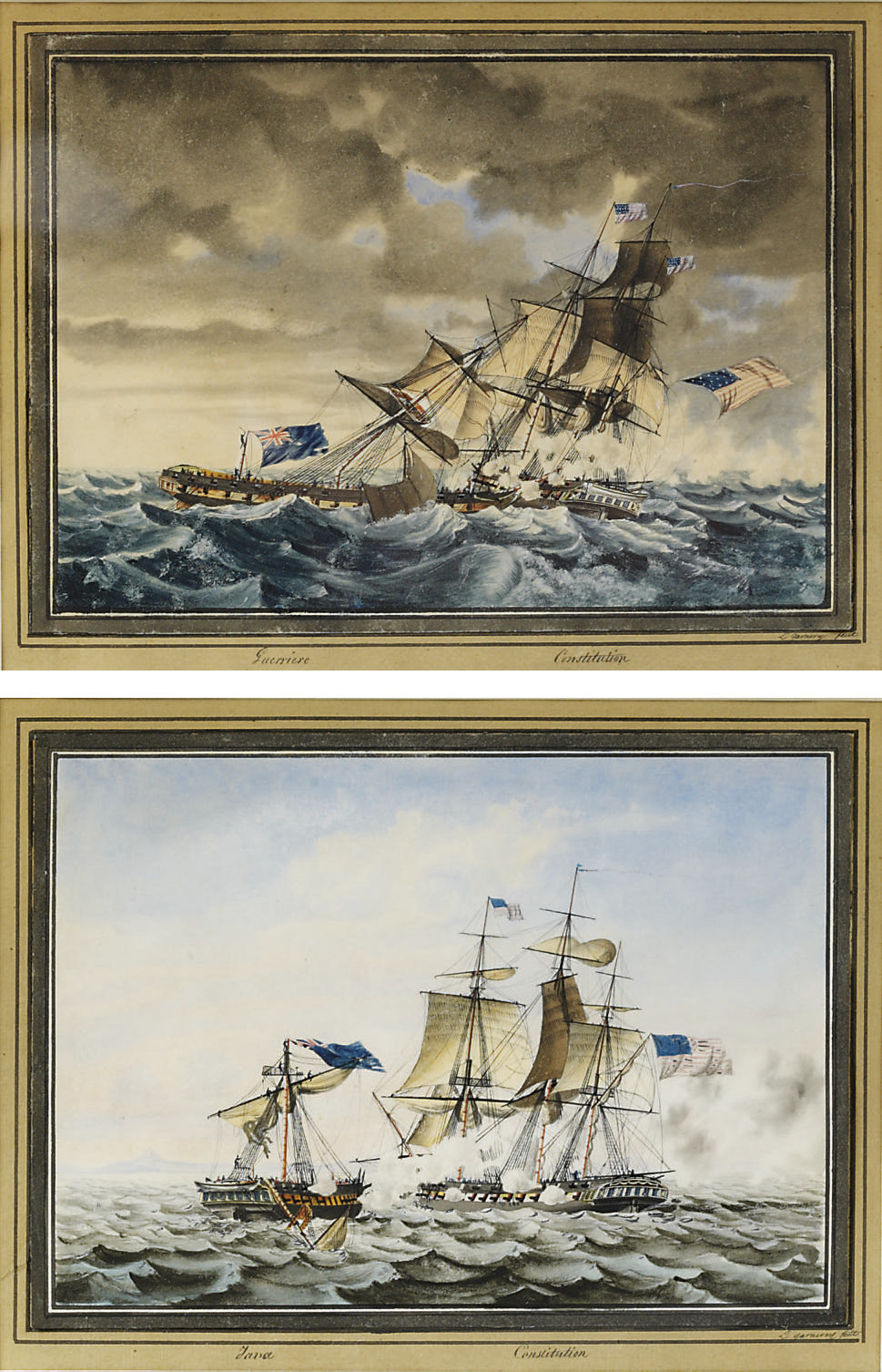 The end of the action between U.S.S.Constitution and the British frigate Guerriere; and U.S.S.Constitution engaging the British frigate Java off the coast of Brazil