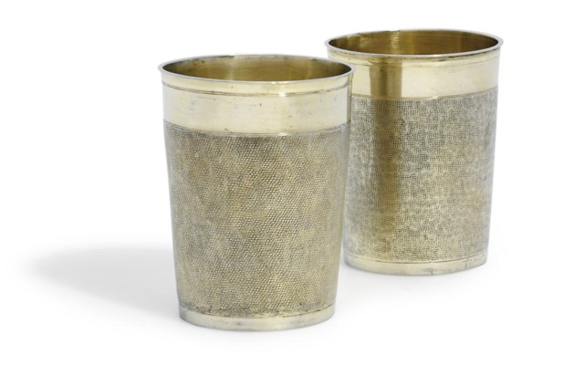 TWO GERMAN SILVER-GILT BEAKERS