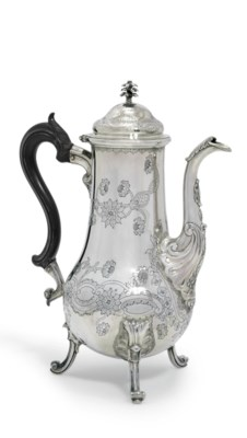A PORTUGESE SILVER COFFEE-POT