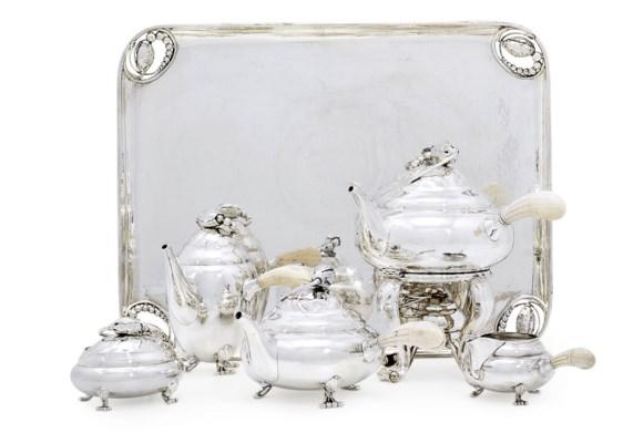 A DANISH FIVE-PIECE SILVER TEA