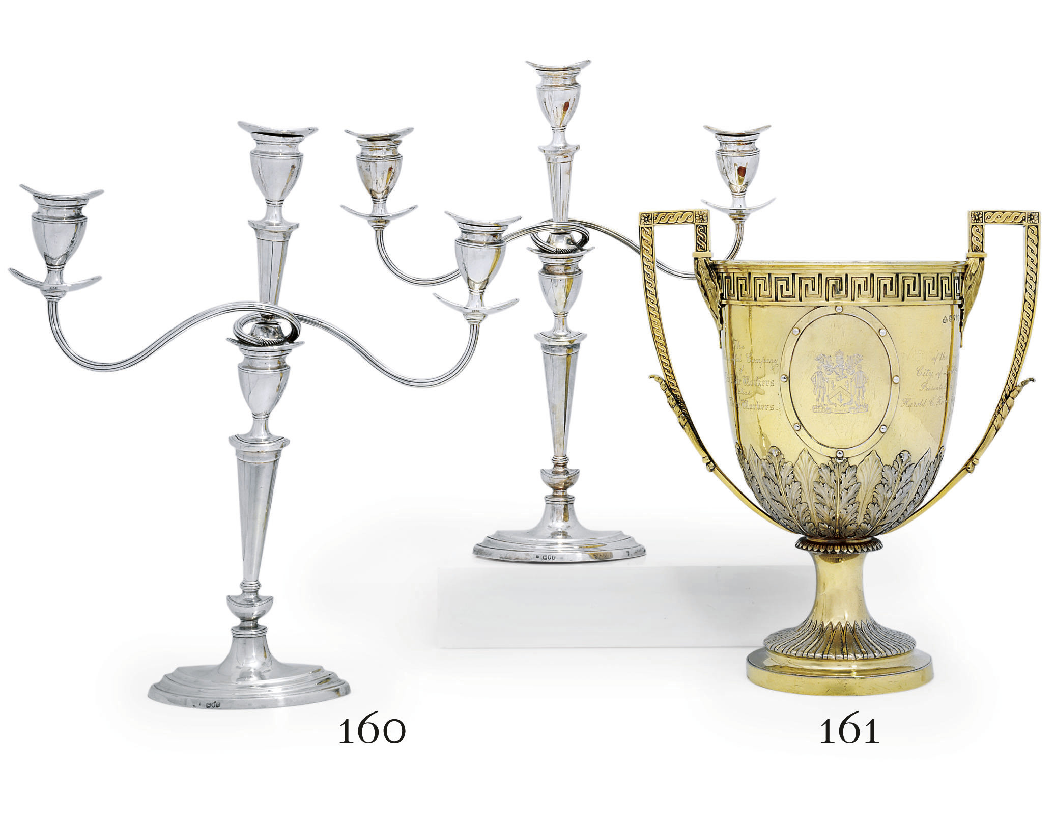 A PAIR OF EDWARD VII SILVER THREE-LIGHT CANDLEABRA