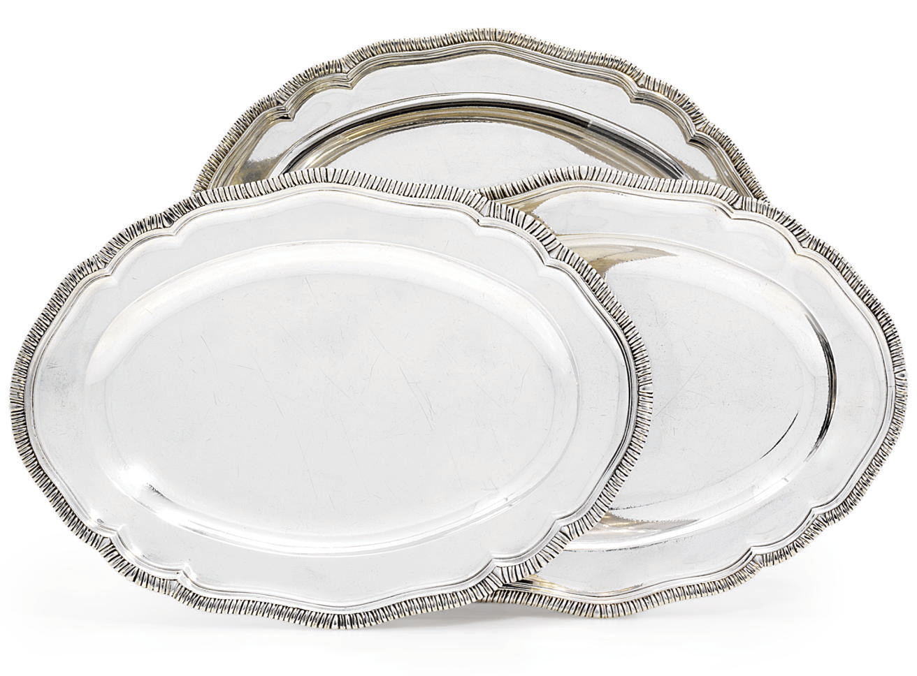 A SET OF THREE GEORGE III IRISH SILVER MEAT-DISHES