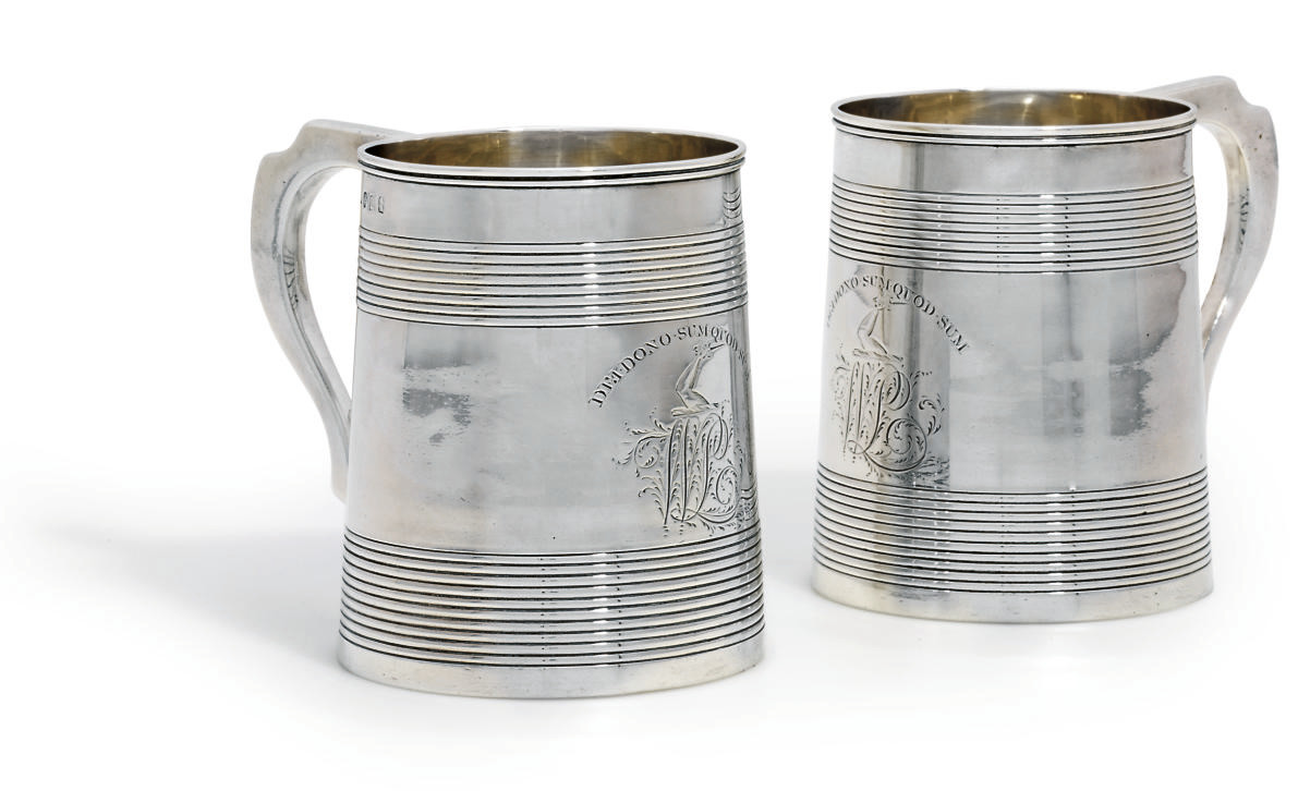 A PAIR OF GEORGE III SILVER MU