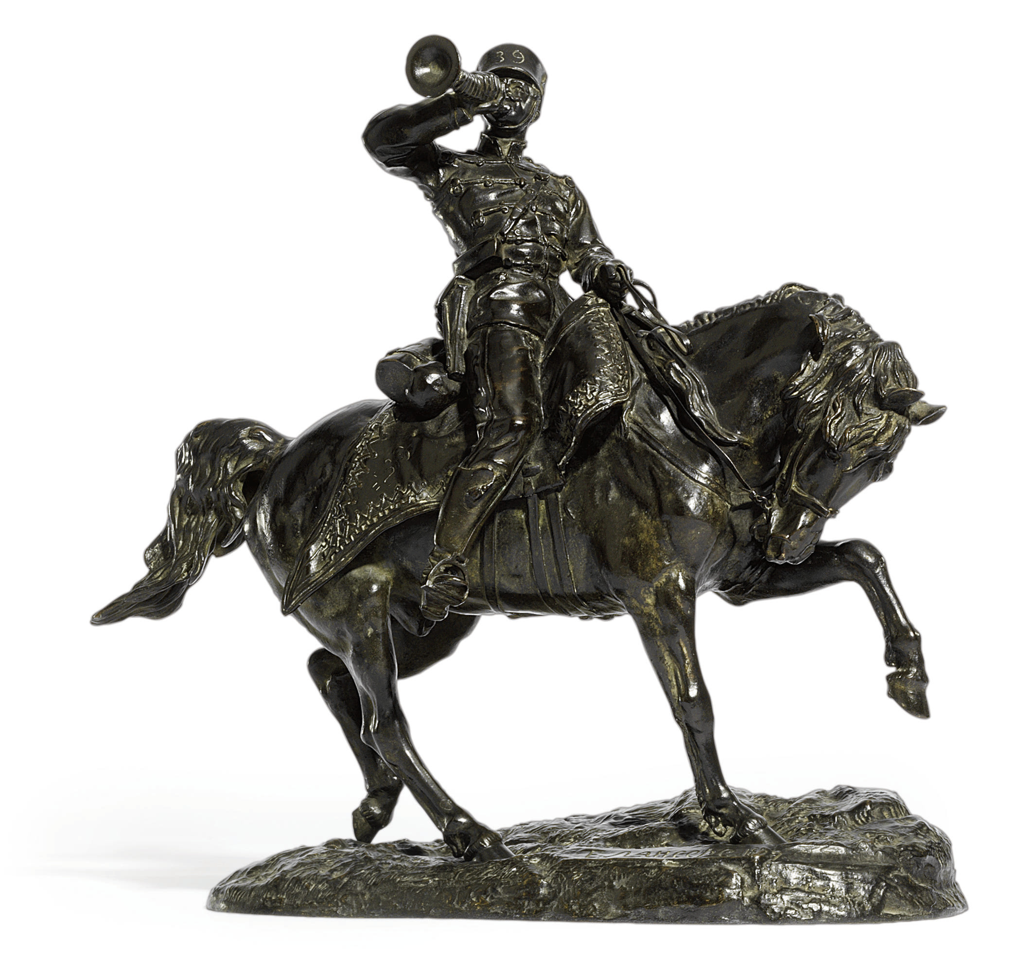A bronze Equestrian figure of