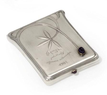A jewelled silver cigarette-ca