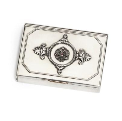 A jewelled silver cirgarette-c