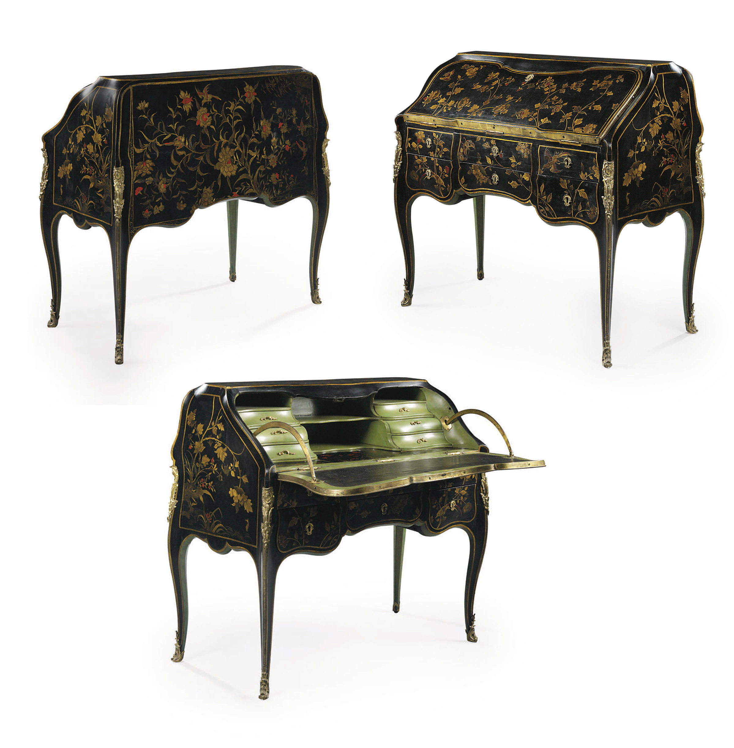 A LOUIS XV ORMOLU-MOUNTED BLACK AND GILT CHINESE LACQUER BUREAU DE PENTE