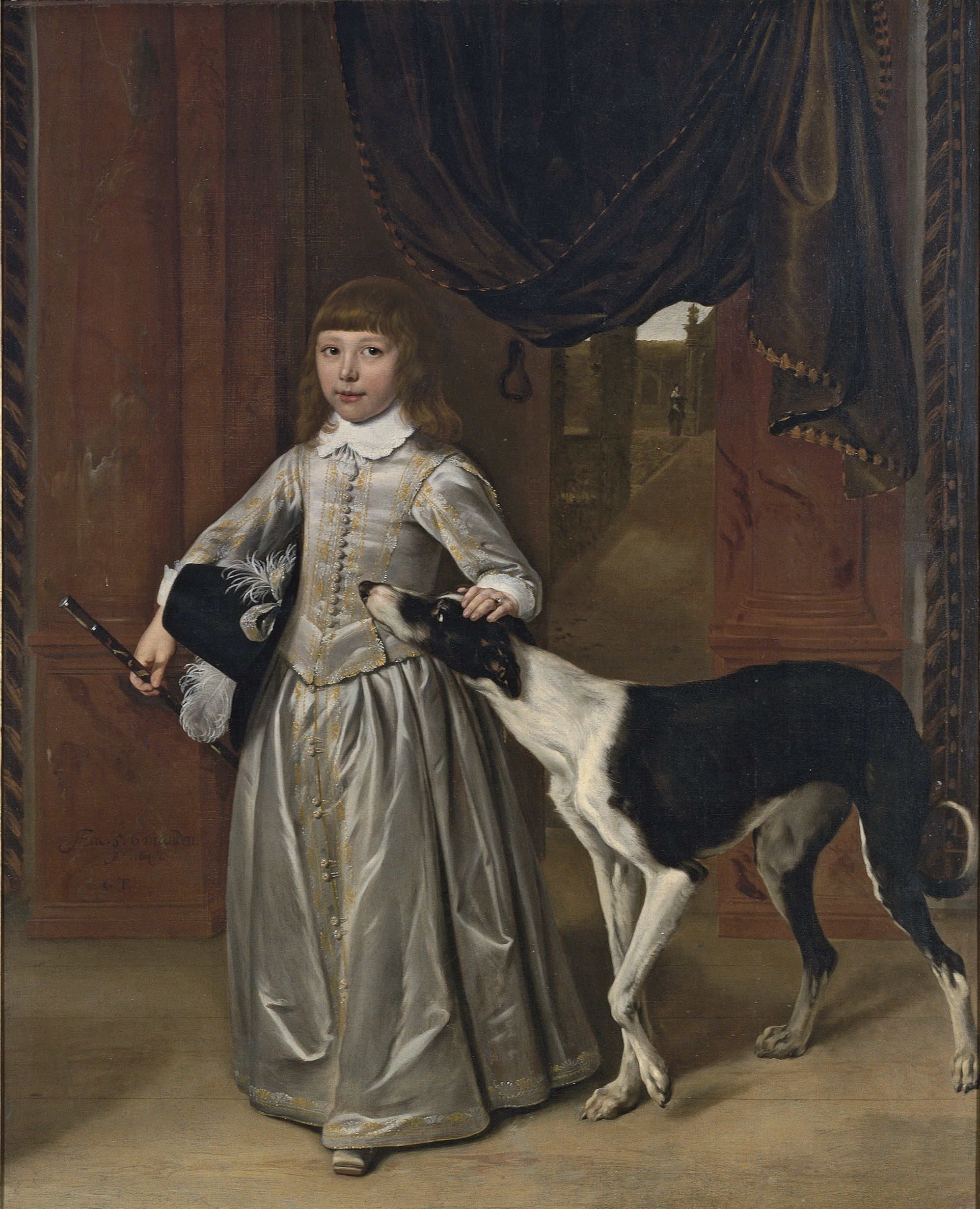 Portrait of a boy, full-length, in a gold-embroidered grey costume with a feathered hat and a cane, his hand on the head of a lurcher, with a garden seen through the door behind