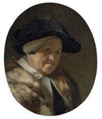 Portrait of a lady, bust-length, in a black hat and a fur mantle
