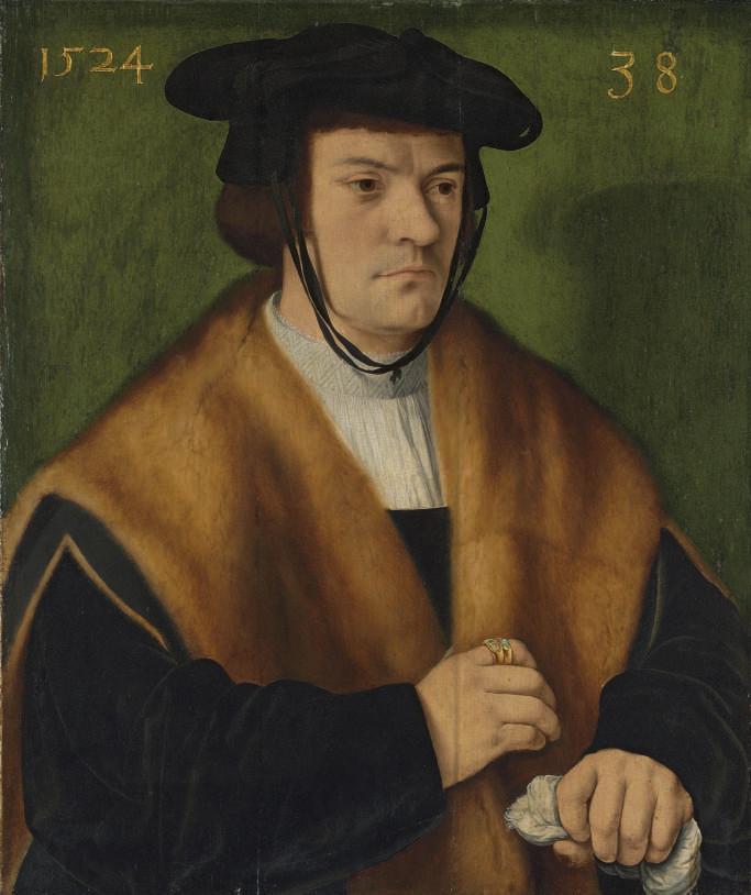 Portrait of Gerhard von Westerburg (1486-after 1539), half-length, in a fur-trimmed mantle and a black hat