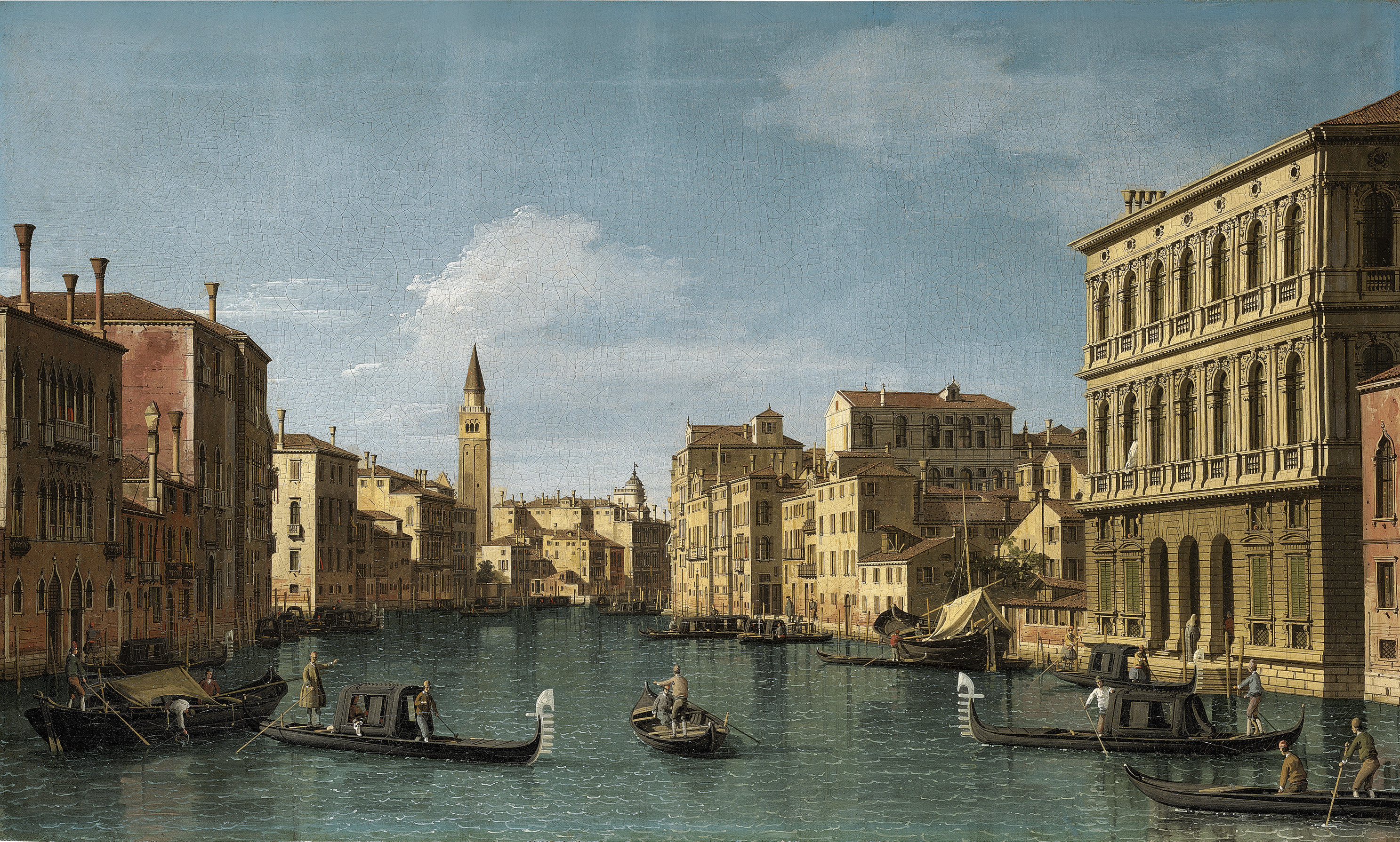 The Grand Canal, Venice, looking north-west from the Ca' Corner to the Ca' Contarini degli Scrigni, with the campanile of Santa Maria della Carità