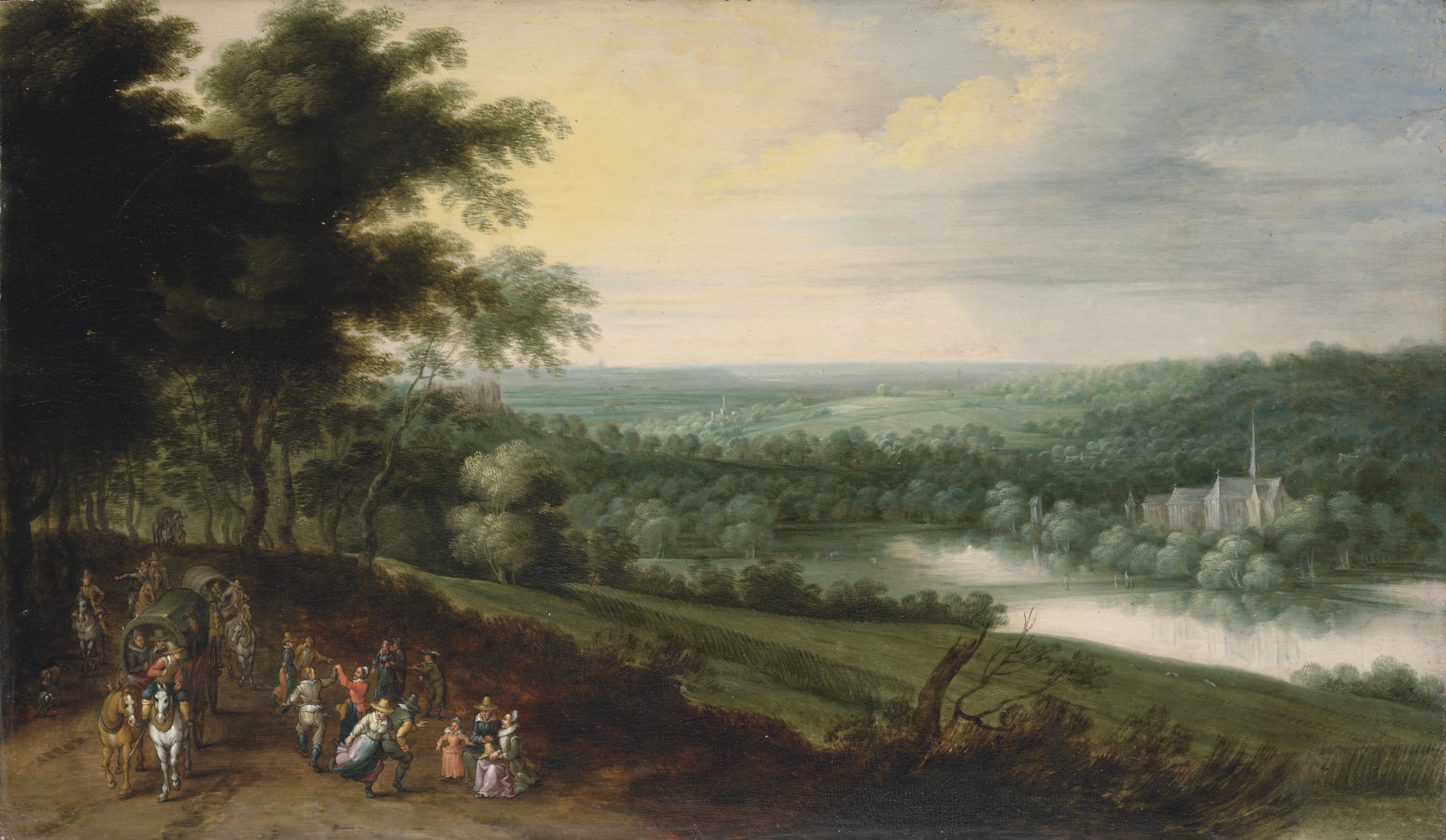 A landscape with figures and waggons on a path