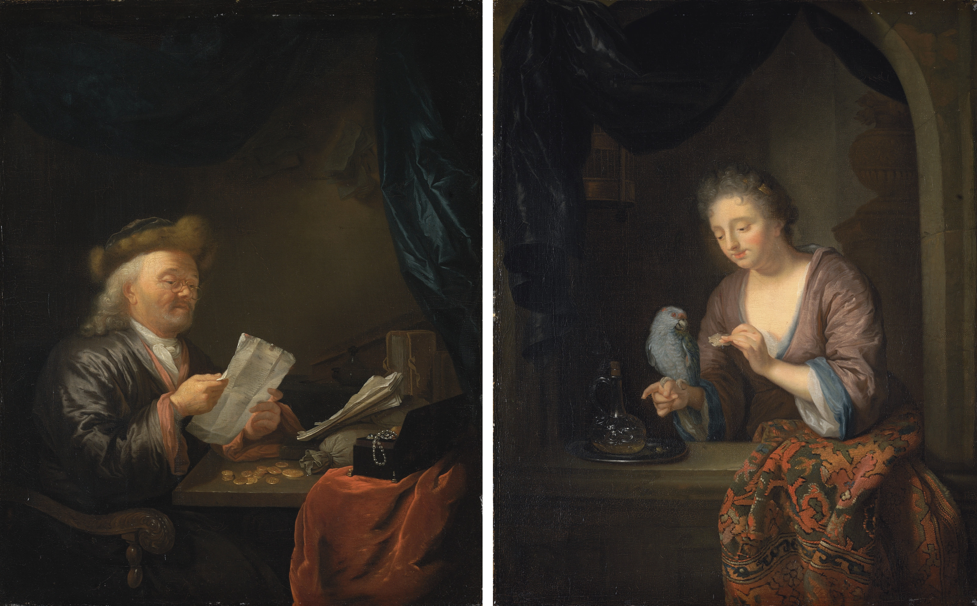 A moneylender reading a letter at a table with coins, books and a jewellery box; and A lady feeding a parrot at a window casement