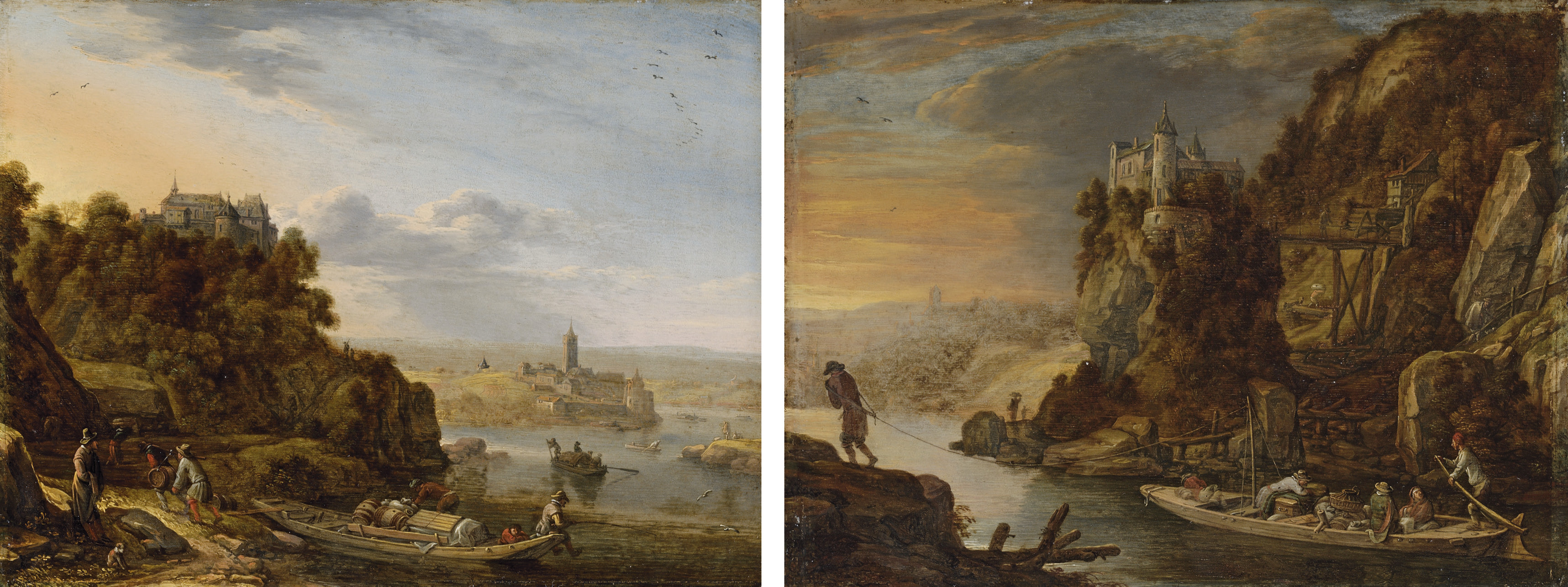 An extensive river landscape with figures fishing and unloading a boat, a hilltop castle and a town beyond; and A river landscape with figures in a tow-barge, a hilltop castle beyond