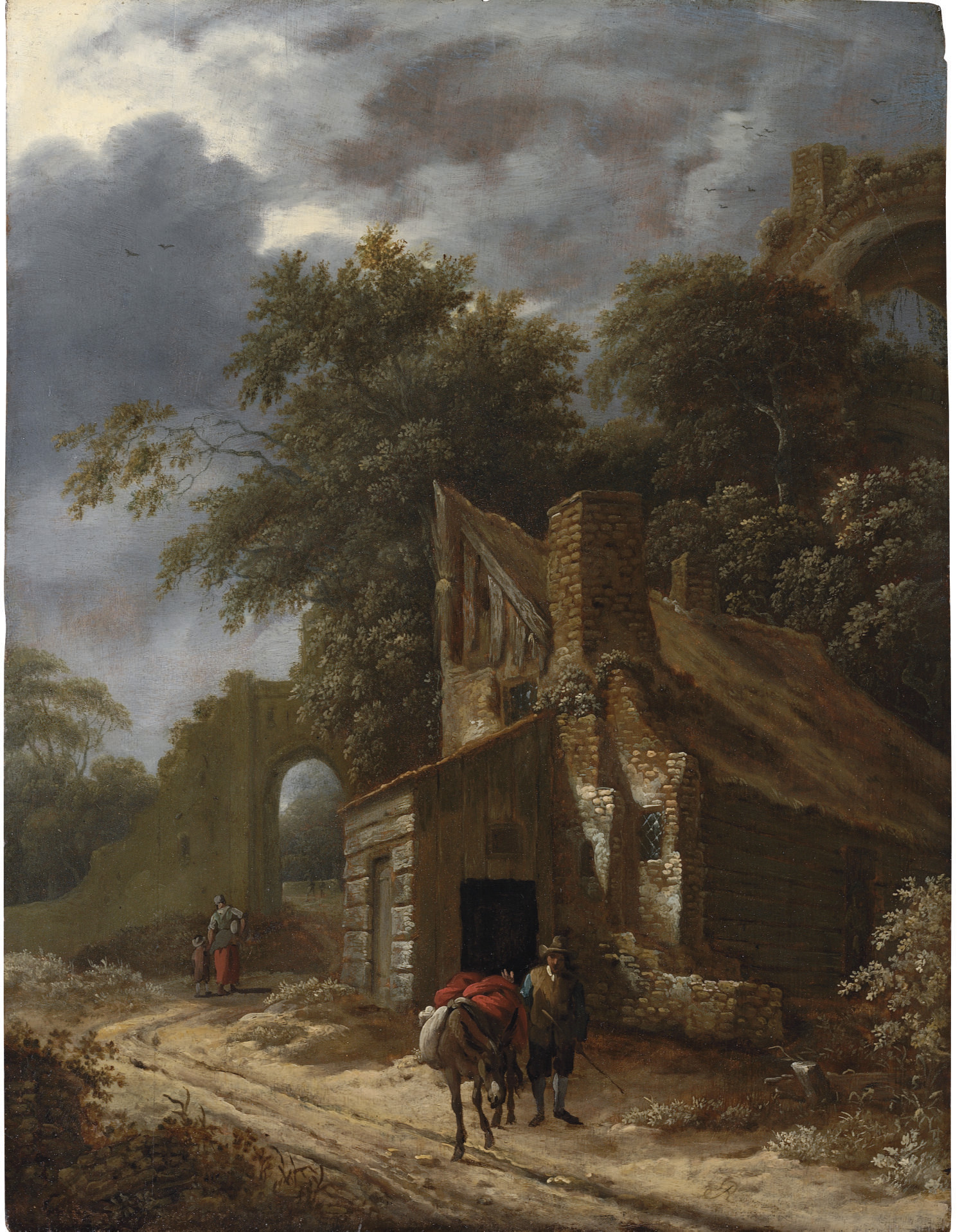 A muleteer on a track with cottages and a ruin beyond