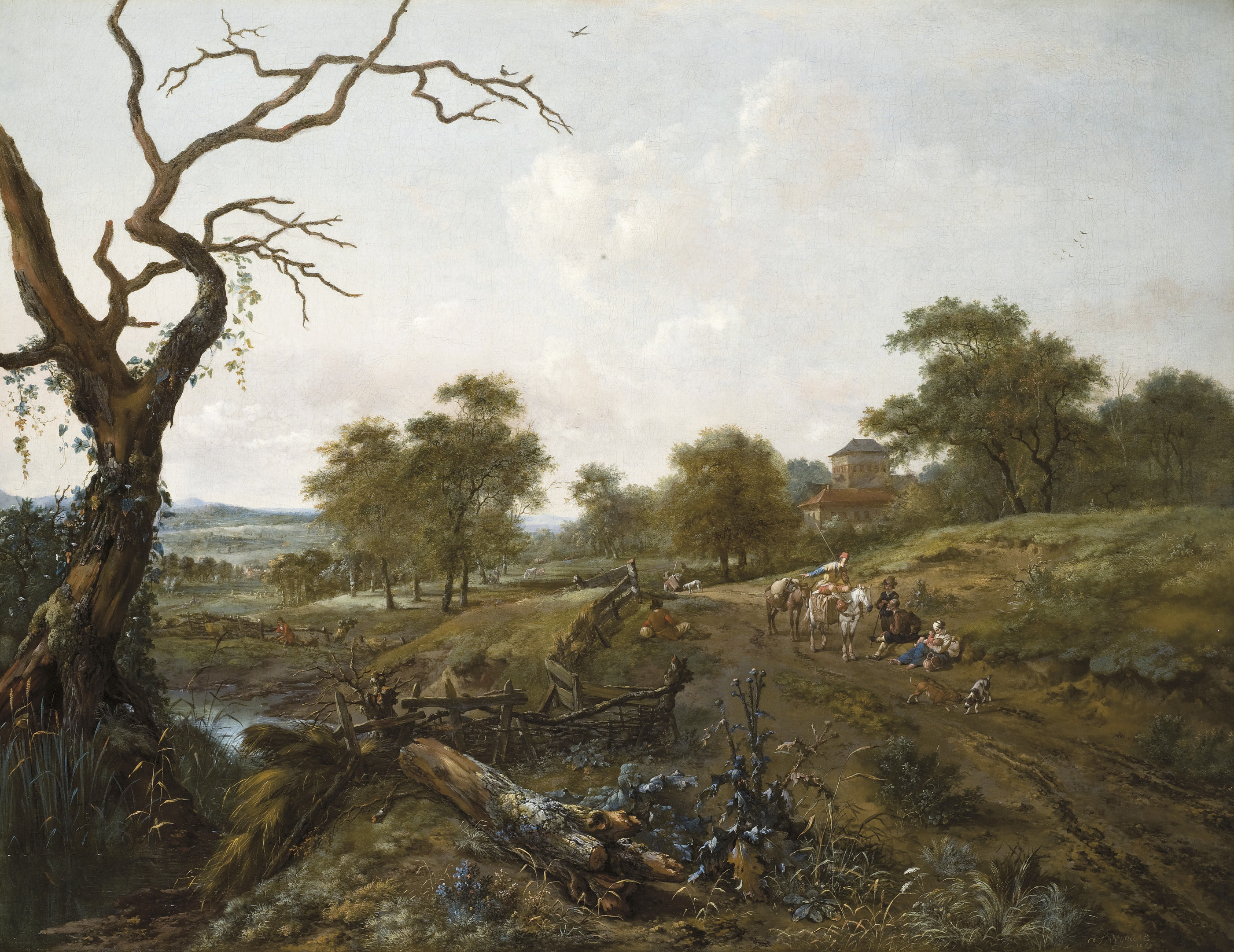 An extensive pastoral landscape with travellers on a path, a boy by a stream and herdsmen watching cattle, a hayfield beyond
