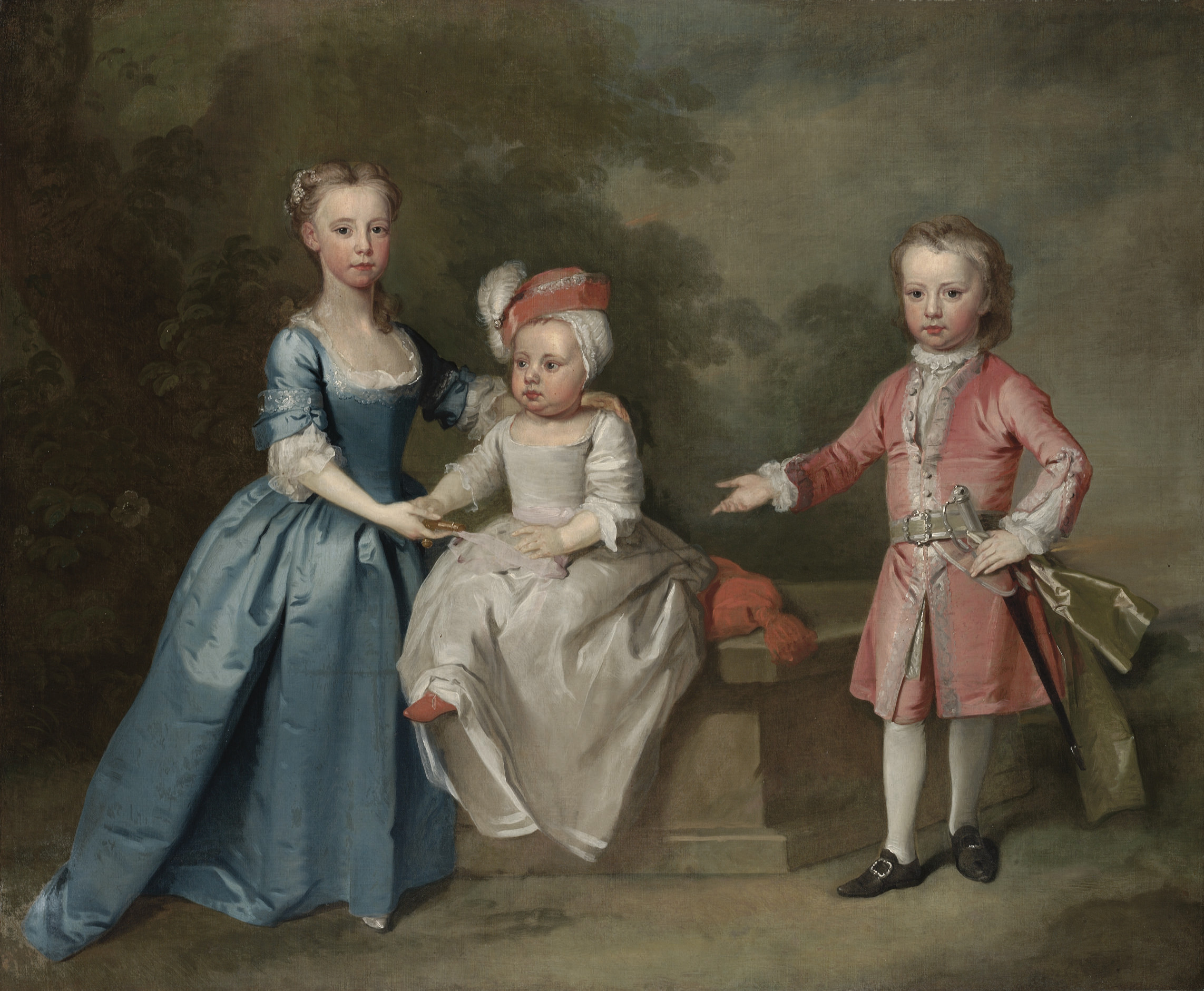 Group Portrait of three children, traditionally identified as the Craven children, full-length, in a wooded landscape