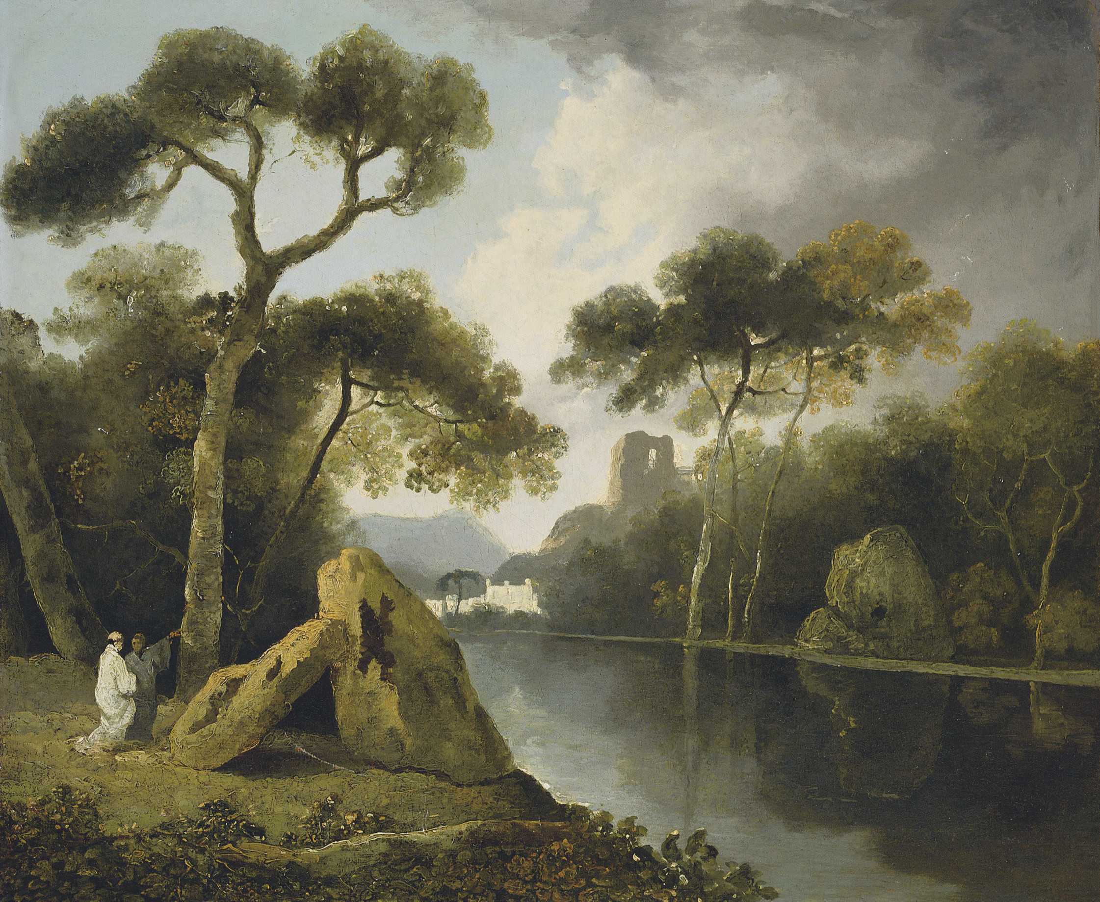 A river landscape with monks conversing by a pair of megaliths, ruins beyond