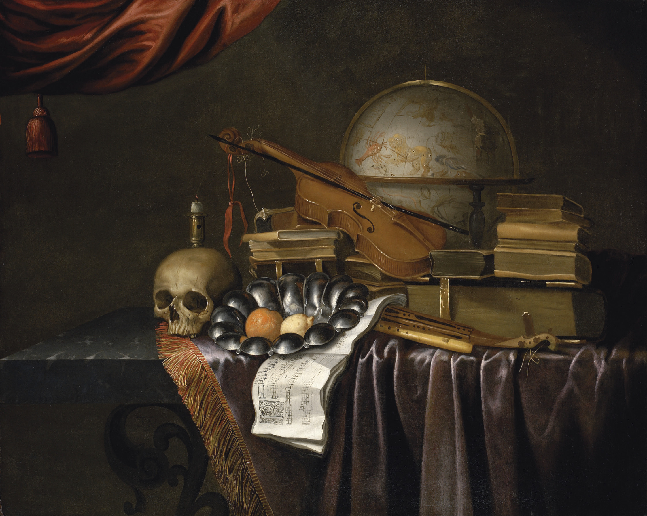 A vanitas with a skull, an orange and a lemon in a pewter bowl, an extinguished candle, books, music, musical instruments and a celestial globe, on partly-draped marble table