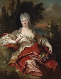Portrait of a lady, traditionally identified as the Duchess of Phalaris, seated, three-quarter-length, in a red and gold silk dress, as Flora